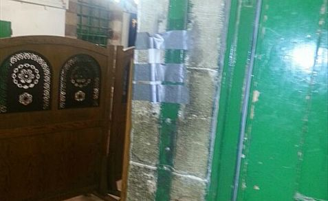 A mezuzah is missing from the entry to a Jewish prayer hall in the Cave of the Patriarchs in Hevron because Muslims stole it Friday night, when Jews were barred because of th Muslim month of Ramadan