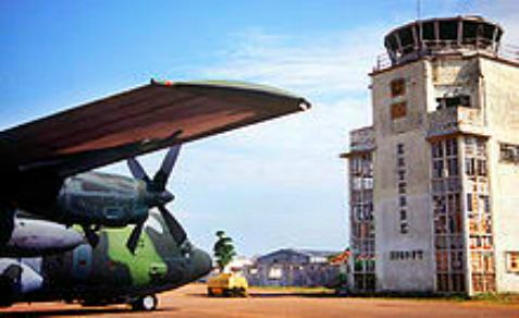 A C-130 Hercules in front of the old terminal in Uganda's airport, where Israel carried out Operation Entebbe on the Fourth of July, 37 years ago