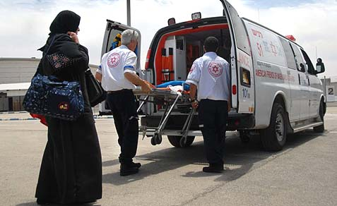 Palestinian patient enters Israel for emergency treatment.