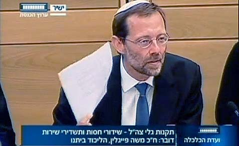 MK Feiglin at the Knesset Economics Committee.