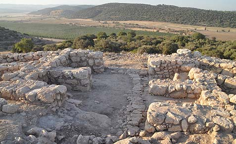 The southern city gate, a typical four-chamber Iron Age gate, with the Valley of Elah in front.