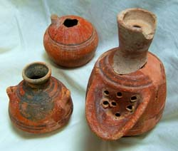 A group of pottery vessels decorated with red paint. Photo credit: Institute of Archeology, Hebrew University.