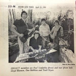 """Eliezer (Lazer) Lloyd Blumen with his high school band """"Legacy"""" in 1984."""