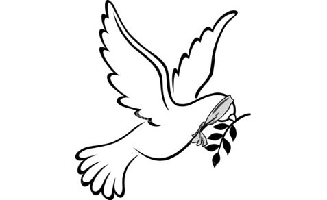 The blindfolded peace dove.