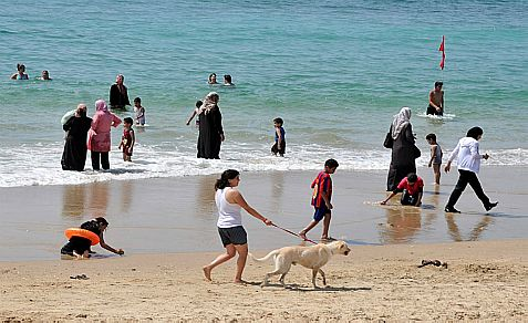 Israel Arabs and Jews on the beach at Jaffa (Yafo), which the Palestinian Authority says is part of Palestine