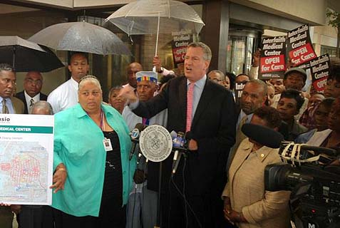 Democratic mayoral candidate (seen here in front of a Brooklyn hospital) may have won the nomination without a runoff election – we'll keep you posted.