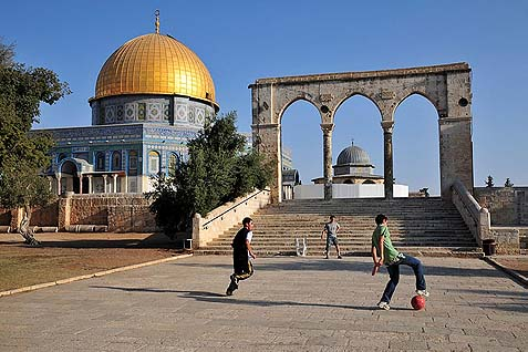 "Arab boys play soccer on the holiest Jewish site, amidst Palestinian condemnations of Israeli ""judaisation"" plots for the site."