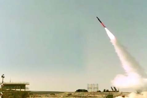 Launching the Iron Dome interceptor missile.