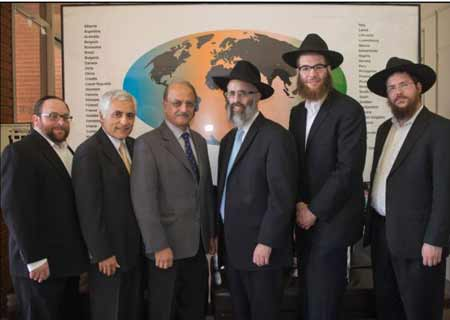 (L-R) Rabbi Gavriel Hershoff, director of Aish-Tamid; Fred Keivanfar, director of Admissions and Finance, ORT-College of Los Angeles; Joseph Neman, director of ORT- College of Los Angeles; Rabbi Mordechai Katz, dean of Bais Toras Menachem; Rabbi Levi Bennish, director of Bais Toras Menachem; and Rabbi Levi Chazan, semicha program magid shiur at Bais Toras Menachem.