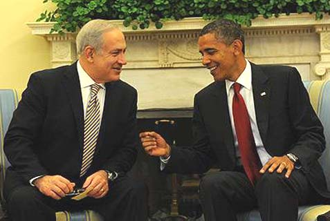 Netanyahu and Obama at the White House, July 2010. The Israeli PM is trying to do damage control following the, apparently successful, Rouhani charm offensive this week.