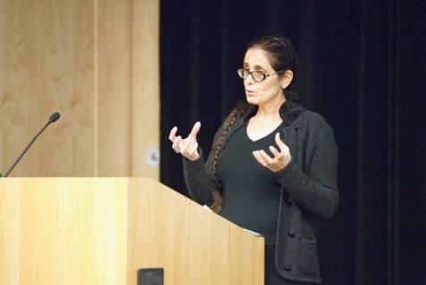 Anat Berko, shown speaking at Binghamton University on Oct. 6, spoke at the University of Florida, Gainesville on Oct. 10.