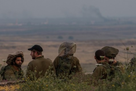 IDF infantry soldiers training on the Golan Heights. (file)