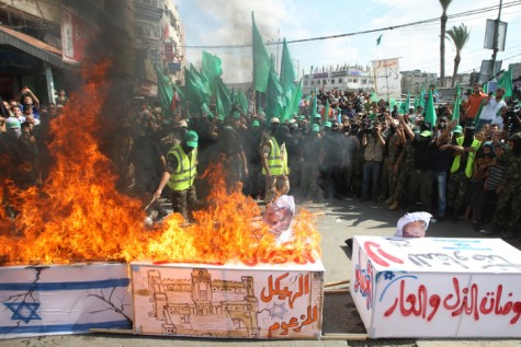Anti-Israel rally in Gaza. At least Hamas 'promised' not to try to kill Israeli civilians with rockets
