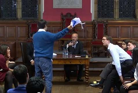 "George Galloway, in alarm, says: ""What's that up your jumper?"" As a proud Israeli Oxford student unfurls the Israeli flag."