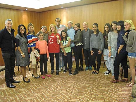 The Hollywood stars with Israeli terror victims in Jerusalem. Photo Credit: OneFamily Fund