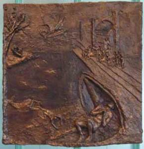 Jonah and the Whale (2012) 23 x 23, bronze relief by Lynda Caspe.