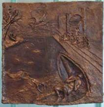 Jonah and the Whale (2012) 23 x 23, bronze relief by Lynda Caspe. Courtesy Derfner Judaica Museum – Hebrew Home at Riverdale.