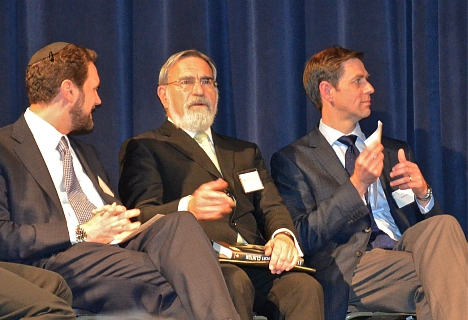 Rabbi Dr. Yehuda Seif of Kohelet Yeshiva High School and the Tikvah Foundation, Rabbi Lord Jonathan Sacks and Prof. R.J. Snell of the Templeton Honors College of Eastern University before Rabbi Sacks' lecture on Oct. 24, 2013