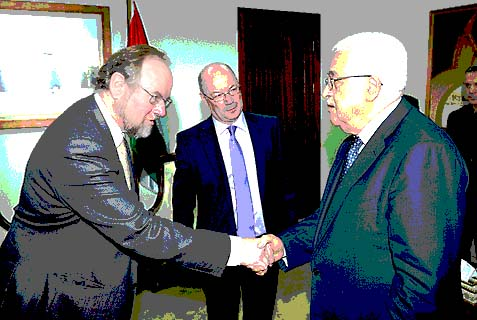 British Consul-General to Jerusalem Sir Vincent Fean with PA chairman Mahmoud Abbas.