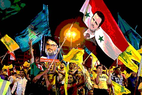 Hezbollah supporters in Lebanon show support for terror leaders Hassan Nasrallah and Bashar al-Assad