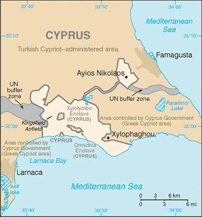 Map of the Sovereign Base Area of Dhekelia.