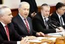 Israeli Prime Minister Benjamin Netanyahu leading the weekly cabinet meeting.