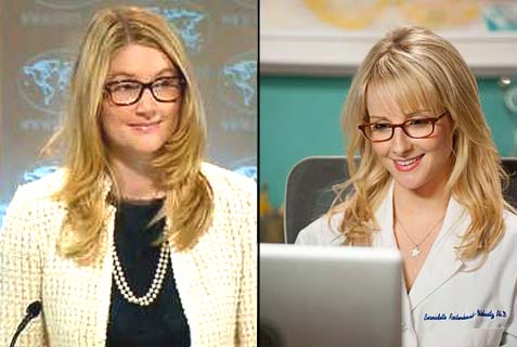 Deputy Spokesperson Marie Harf and Bernadette Maryann Rostenkowski-Wolowitz (Melissa Rauch). Are they like twin sisters, or what?