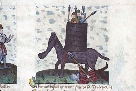 Miniature from a manuscript Speculum Humanae Salvationis. Eleazar the Maccabee kills the Syrian elephant and is crushed.