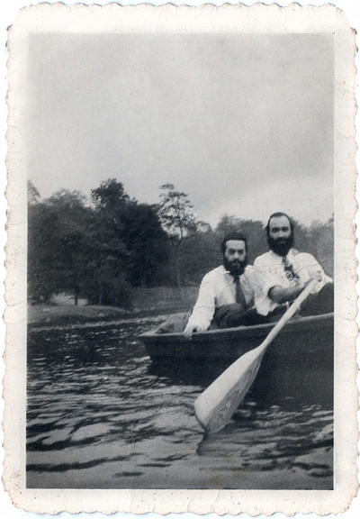 The twin brothers, Eli Chaim and Shlomo Carlebach, rowing on a summer vacation in the Catskill Mountains, probably summer 1948. Courtesy of Hadassa Carlebach and Sheina Carlebach Berkowitz.