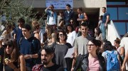 "Israeli students seen at the campus of ""Mount Scopus"" at Hebrew University."