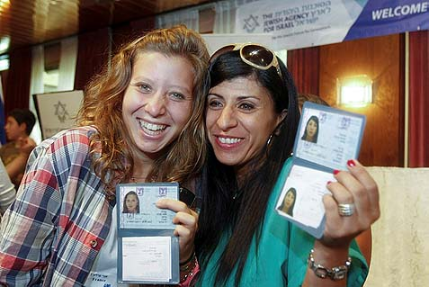 Israeli olah proudly showing their new ID cards. Instead of investing in strengthening Jewish centers in diaspora, Israel must focus on one narrow mission: bring everyone home.