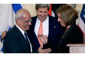 Secretary of State Kerry with negotiators Saeb Erekat and Tzipi Livni.