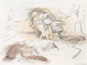 David and Goliath, (1982) graphite and colored pencil on paper by Larry Rivers Courtesy Bonhams