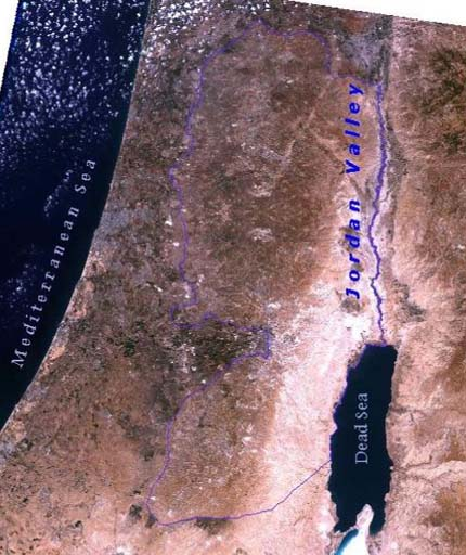 Satellite image of the Jordan valley.