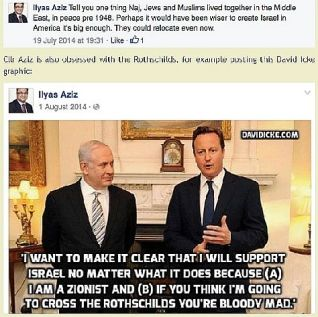 Two Facebook posts by UK Labour Party councillor Ilyas Aziz from the summer of 2014, during the Israeli defensive counter terror war against Hamas in Gaza.
