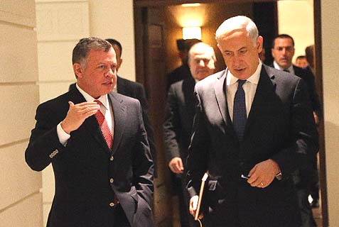 His Majesty King Abdullah meets with Israeli Prime Minister Benjamin Netanyahu in Amman on Thursday