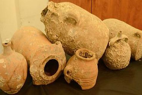 Part of the treasure of ancient pottery that was fished out of the Mediterranean Sea and stored in the basement of a home in northern Israel.