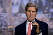 U.S. Secretary of State John Kerry addresses a memorial service at the site of Israel's former Prime Minister Yitzhak Rabin's assassination in Tel Aviv.