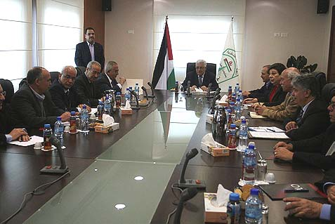 PA Chairman Mahmoud Abbas in a meeting of the essentially self-appointed Palestinian Liberation Organization (PLO) executive committee in Ramallah. Who in this group has anything to gain from a democracy?
