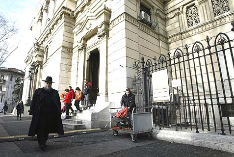 The scene in front of Rome's synagogue on Saturday morning, where a package containing a pig's head was sent on Friday.