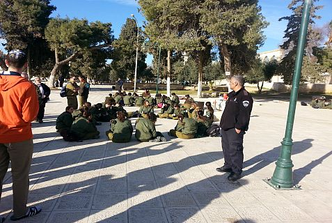 Teaneck. New Jersey Jews and IDF women soldiers on the Temple Mount.