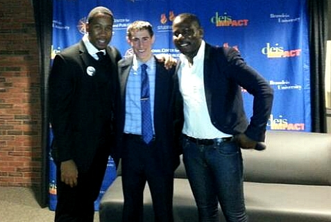 Brandeis Univ. Student Union Pres. Ricky Rosen (center) with grandsons of Nelson Mandela, Ndaba Mandela (L) and Kweku Mandela-Amuah (R)