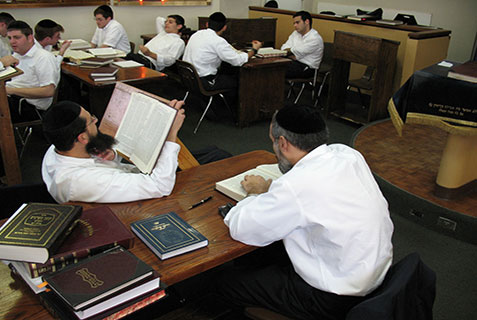 Learning in the beis medrash of Yeshiva v'Kollel Beis Moshe Chaim, Miami Beach.