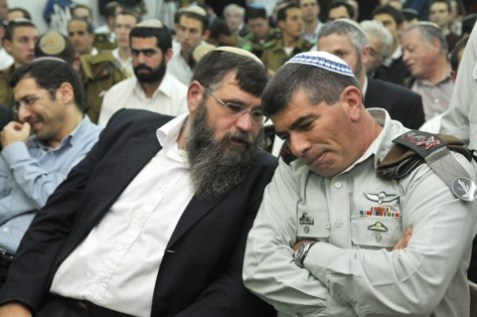 "IDF Chief of Staff Gabi Ashkenazi during a visit to the Modiin Hesder yeshiva in 2010. Ashkenazi said, ""Yeshiva students come to the IDF armed with faith and a strong desire to contribute."""