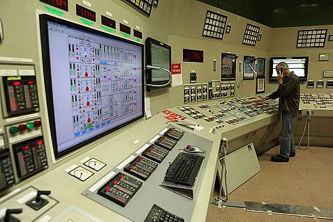 View from inside a control room at the Israeli Electricity Company power station.