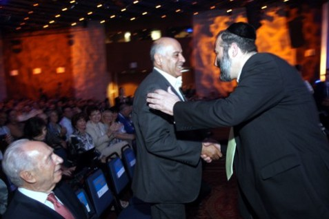 Shimon Peres (l), Jobril Rajoub (c) and Aryeh Deri (r) at the 2011 President's Conference. Rajoub has called for renewed terror attacks against Israel.