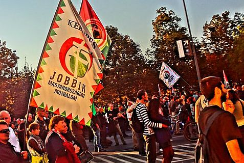 Jobbik party rallies in Budapest.