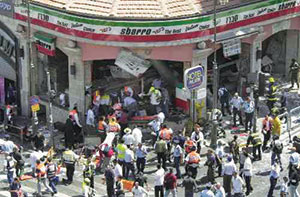 Aftermath of the Sbarro Pizzeria homicide bombing, August 9, 2001.  Fifteen people were murdered, including the authors' 15 year old daughter, Malki. More than 120 were injured.