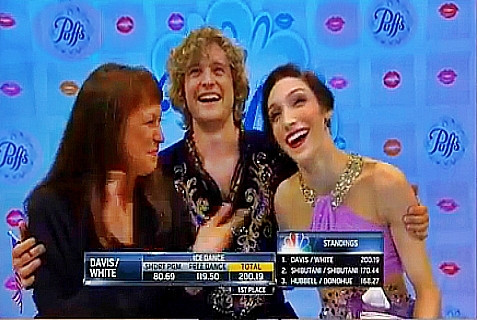 On Monday, Feb. 17, 2014, Charlie White (center) and Meryl Davis (right) won the USA's first gold medal for ice dancing.