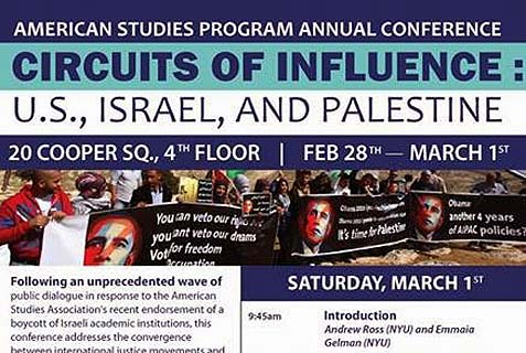 The flyer notes the American Studies Association's decision in December to boycott Israeli educational institutions.